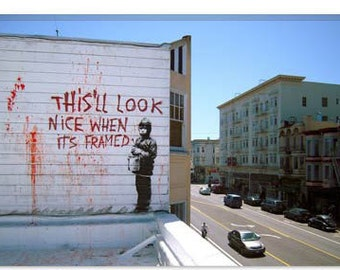 """This'll Look Nice When Its Framed by Banksy Canvas Art Print (2150) 26""""x18"""""""