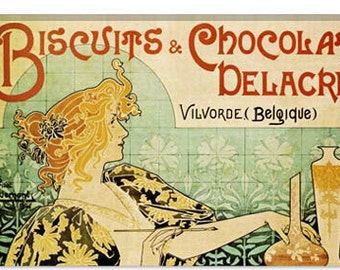 """Delacre Biscuits & Chocolat Vintage Poster by Privat Livemont Canvas Art Print (5032) 61""""x41"""" Thick Bars"""