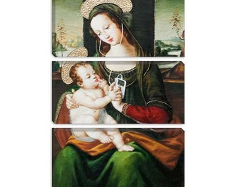 """Silent Night Madonna With Child And Ipod by Banksy Canvas Art Print (2110) 90""""x60"""" 3-Piece Thick Bar"""