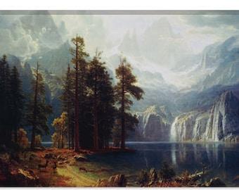 "Sierra Nevada In California by Albert Bierstadt Canvas Art Print (1492) 41""x27"" Thick Bars"