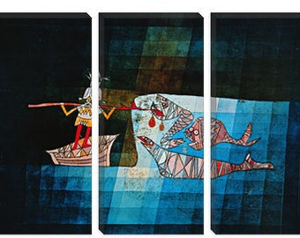 "Sinbad The Sailor by Paul Klee Canvas Art Print (1359) 90""x60"" 3-Piece Thick Bar"