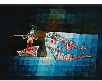 "Sinbad The Sailor by Paul Klee Canvas Art Print (1359) 41""x27"" Thick Bars"