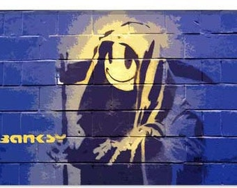"""Smiley Death Grim Reaper by Banksy Canvas Art Print (2056) 41""""x27"""" Thick Bars"""