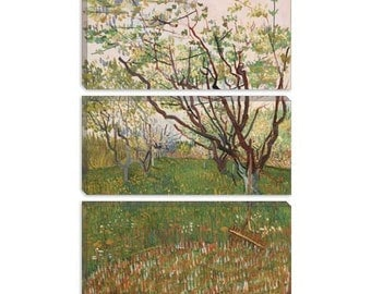 """The Flowering Orchard 1888 by Vincent van Gogh Canvas Art Print (1017) 90""""x60"""" 3-Piece Thick Bar"""