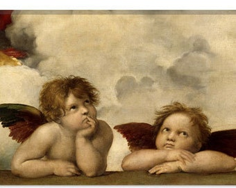 """The Two Angels by Raphael Canvas Art Print (1396) 61""""x41"""" Thick Bars"""