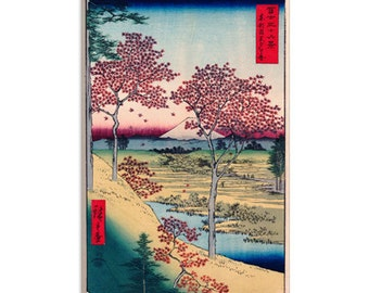 "View of The Sunset At Meguro, Edo by Ando Hiroshige Canvas Art Print (1408) 12""x8"""
