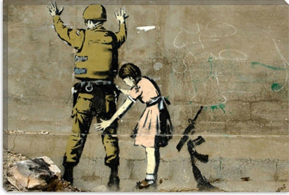 "Girl and a Soldier by Banksy (2007) 41""x27"" Thick Bars"
