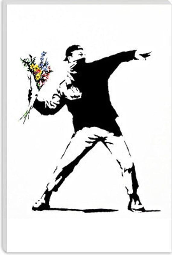 "Rage, Flower Thrower by Banksy (2032) 40""x26"""