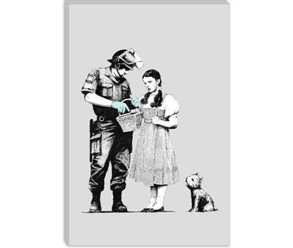 "Dorothy Police Search by Banksy Canvas Art Print (2069) 12""x8"""