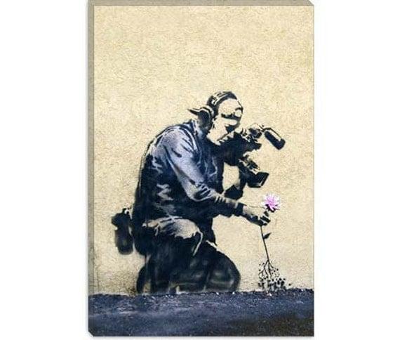 "Camera Man & Flower by Banksy Canvas Art Print (2053) 41""x27"" Thick Bars"