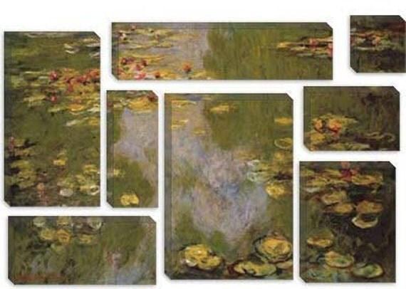 "Water Lilies 1919 by Claude Monet Canvas Art Print (1041) 56""x36"" 8-Piece"