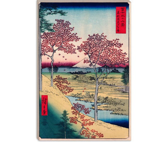 """View of The Sunset At Meguro, Edo by Ando Hiroshige Canvas Art Print (1408) 18""""x12"""""""