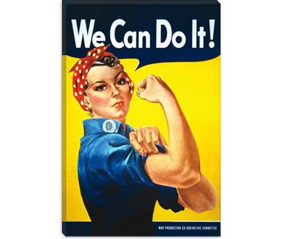 """We Can Do It. (Rosie The Riveter) Poster by J. Howard Miller Canvas Art Print (5035) 40""""x26"""""""