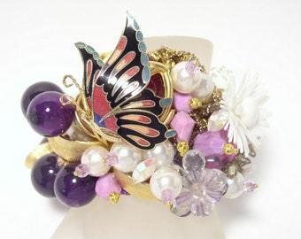 Regal Butterfly & Juicy Grapes Artisan Cuff Bracelet Set