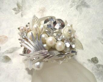 Silver Tone, Pearl & Crystal Wedding Cuff Bracelet