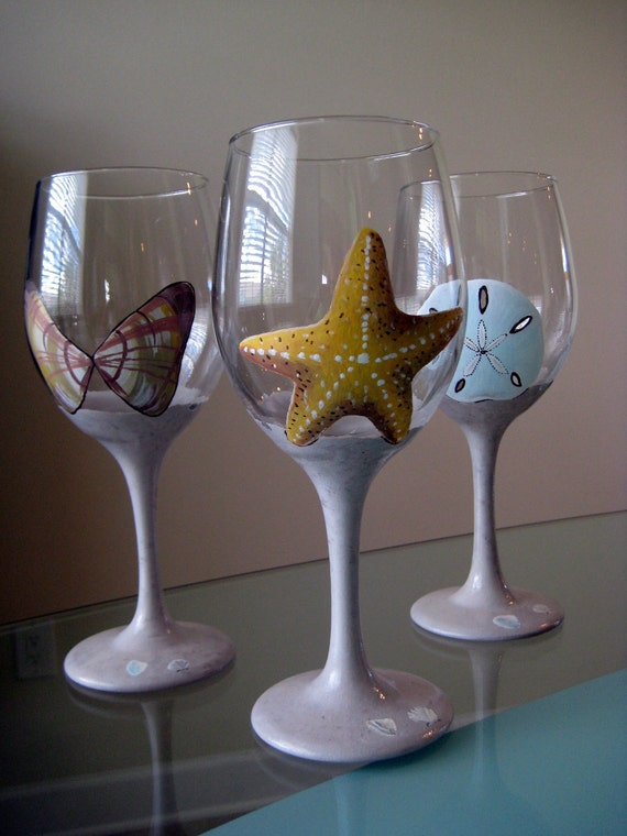 Items Similar To Hand Painted Sea Shell Wine Glasses On Etsy