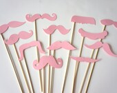 Photo Booth Props  - Mustache Bash - Set of 12 BABY PINK Mustaches on a stick - Photobooth Props Party Props