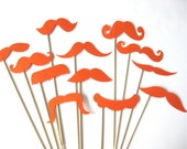 Photo Booth Props  - Mustache Bash - Set of 12 ORANGE Mustaches on a stick - Photobooth Props Party Props