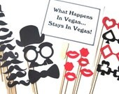 The Deluxe Vegas Collection - Set of  26 Photo Booth Props - Photobooth Props - Casino