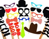 Colorful Photo Booth Props - 35 props on a stick - Birthdays, Weddings, Parties - Great Photobooth Props