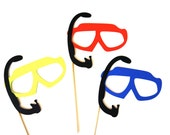 Summer Photo Booth Prop Set - Set of 3 Swim Goggles with Snorkles - Birthdays, Weddings, Parties - Fun Photobooth Props
