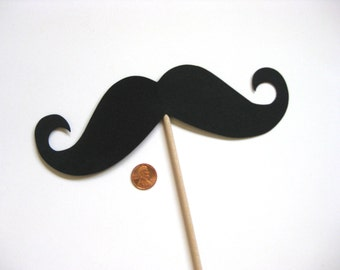 "Photobooth Props - Giant Mustache on a Stick - 7"" x 2"" Stache - Photo Booth Props - Party Props"