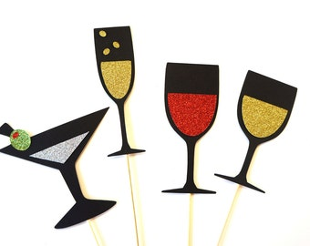 Photo Booth Props - Drinks Collection - Set of 4 Photobooth Props with GLITTER