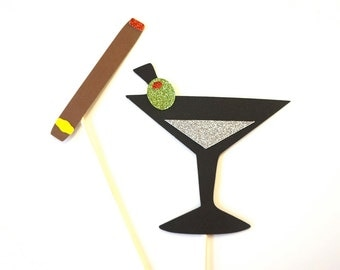 Photo Booth Props - Martini and Cigar - Set of 2 GLITTER Photobooth Props