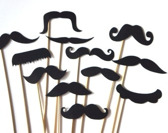 Funny Photo Booth Props - Set of 12 BLACK Mustaches on a stick - Photobooth Props Party Props