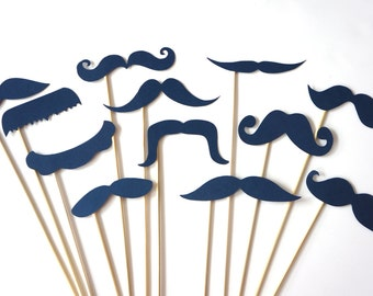 Photo Booth Props  - Mustache Bash - Set of 12 NAVY Mustaches on a stick - Photobooth Props Party Props