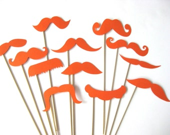 Photo Booth Props  - Mustache Bash - Set of 12 ORANGE Mustaches on a stick - Photobooth Props Party Props
