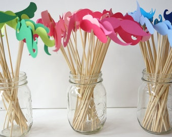 Photo Booth Props - Mustache Bash - Set of 36 Mustaches on a stick - You Choose Colors - Photobooth Props Party Props