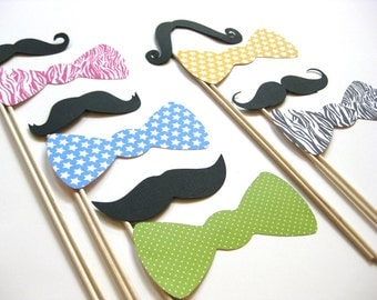 Photo Booth Props on a Stick - Mustaches on a Stick and Bow Ties - 10 piece set - Wild Child Collection