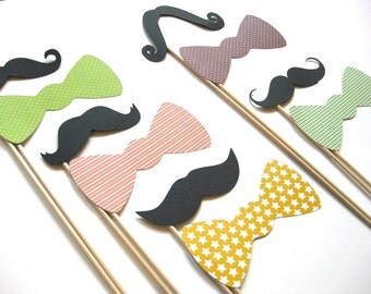 Photo Booth Props on a Stick - Mustaches and Bow Ties - 10 piece set - Downtown Collection