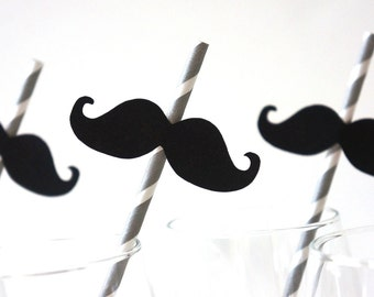 Set of 10 GREY Striped Mustache Straw Photo Props - Mustaches on GREY Striped Paper Straws