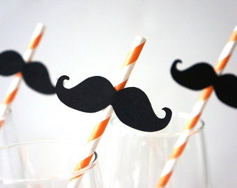 Set of 10 Halloween Mustache Straws - Mustaches on ORANGE Striped Paper Straws