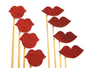 Photo Booth Prop Set - Luscious Glitter Lips On a Stick - Red - 8 piece set - Glitter and Shine Collection - Photobooth Props