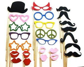 Best Photo Booth Props - The Fun Collection -  25 piece set - Birthdays, Weddings, Parties - Photobooth Props