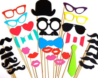 SALE - 32 piece Photo Booth Prop Set - Birthdays, Weddings, Parties - Great Photobooth Props