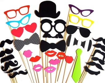 Fun Photo Booth Prop Set - 32 pieces on a stick - Birthdays, Weddings, Parties - Great Photobooth Props