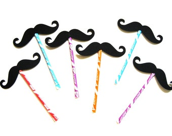 Mustaches on Pixie Stix - 6 piece set - Party Favors - Photo Booth Props - Black Mustaches on Sticks