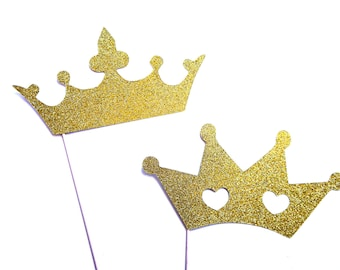 Photo Booth Props - Prince and Princess Crowns with GLITTER - Photobooth Props