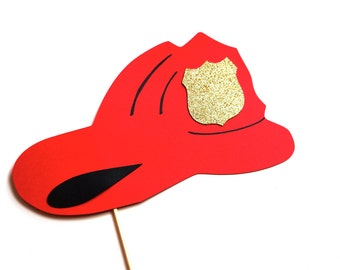 Photo Booth Props - Firefighter Helmet with GLITTER badge - Firefighter Hat Photobooth Props