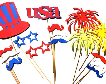 4th of July Photo Booth Props - 16 piece prop set - Birthdays, Weddings, Parties - Photobooth Props
