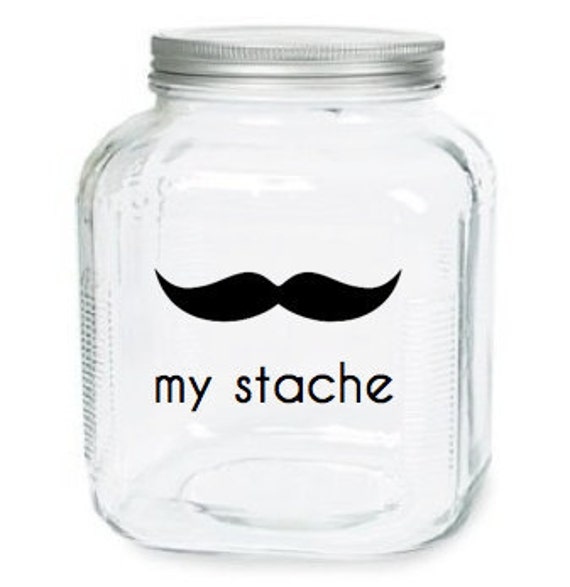 My Stache Jar - The Handlebar Mustache Glass Jar - Money Jar