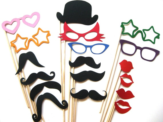 Fun Photo Booth Props - Party Collection -  18 piece set - Birthdays, Weddings, Parties - Fun Photobooth Props
