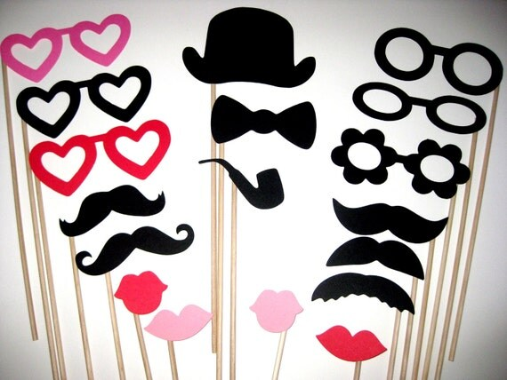 Photo Booth Props - The Love Collection - 18 piece set - Birthdays, Weddings, Parties - Photobooth Props