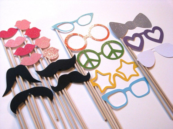 Photo Booth Props - Sparkle Glitter Collection - 20 piece set - mustaches on a stick, lips, glasses - Photobooth Props