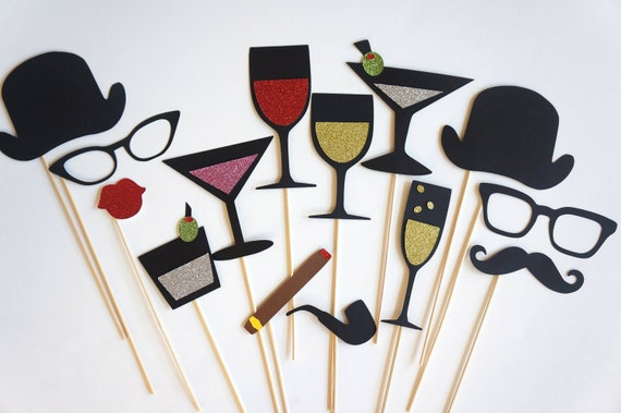 Photo Booth Props - The Celebration Collection - Photobooth Props with GLITTER