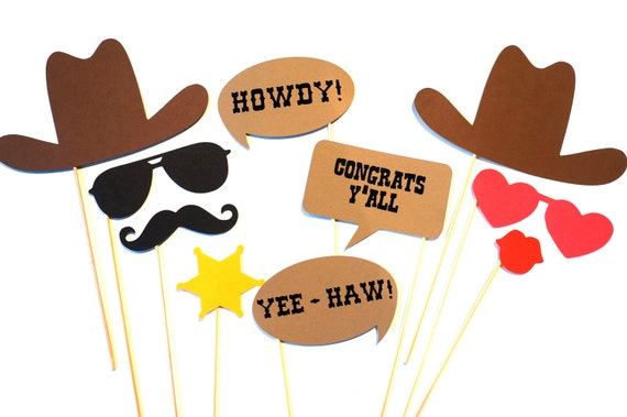 Photo Booth Props - The Western Wedding Collection - 10 piece prop set - Birthdays, Weddings, Parties - Photobooth Props